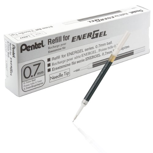 Pentel Refill Ink for EnerGel 0.7mm Needle Tip Liquid Gel Pen, Pack of 12, Black Ink (LRN7-A-12) ()