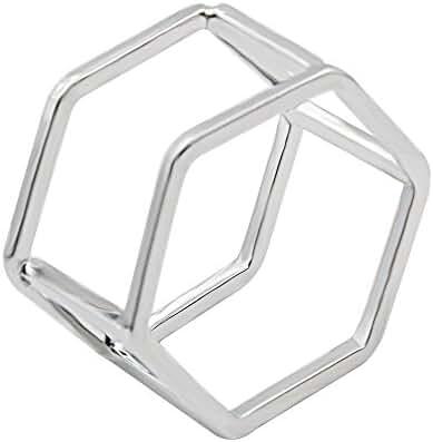 METTU Geometric Shapes Double Hexagonal Prism Irregular Exaggerated Rings for Women