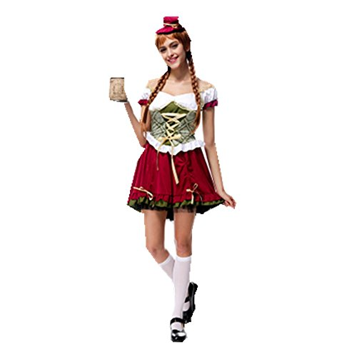 [MV Women Germany Bavarian Oktoberfest Halloween National Costume Bar Girl Service Clothes] (Costumes National Womens Clothing)