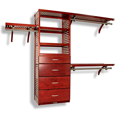 John Louis Home 16in. Deep Deluxe Organizer - 4 Drawers (6 & 10in Deep)-Red Mahogany Finish ()