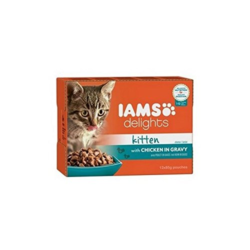 Iams Delights Kitten Food in Gravy 12 x 85g (1.02kg) (Pack of 4)
