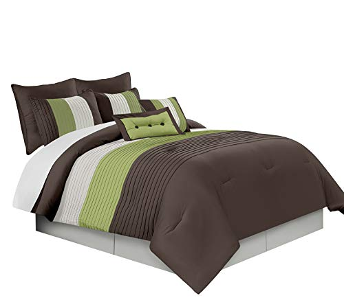Chezmoi Collection Loft 90 X 92-Inch 8-Piece Luxury Stripe Comforter Bed-in-a-Bag Set, Beige/Green and Brown, Queen