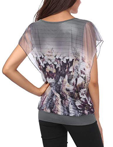 Manches Et Elgante Haut Chemise Chauve Tops 2 Top Grau Confortable Souris Courtes Blusen Mode Casual Modle Rond Plier Impression Col Style Femme Spcial 8dwYqrd