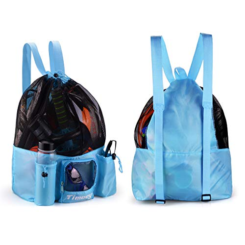 Big Mesh Backpack, Timoey Large Mesh Beach Bag Adult, Drawstring Gym Swim Bag, 19.6x 19.2inshs, Sky Blue
