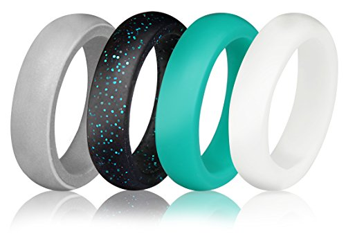 Using Metal (Silicone Wedding Ring for Women (Pack of 4) - Sturdily Constructed, Comfortable, Light-Weight Design – Hypoallergenic & Antibacterial Silicone Wedding Band for Active Women, Athletes by Utopia Fitness)