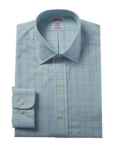 Brooks Brothers Mens 1818 Regent Fit Dress Shirt, 15H 32/33, Green