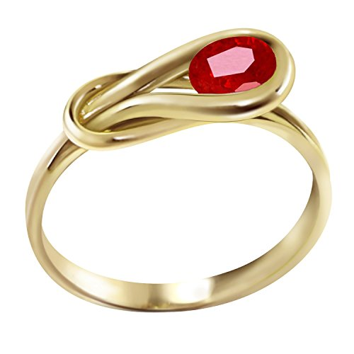 (Galaxy Gold 0.65 Carat 14k Solid Gold Ring with Natural Ruby - Size 6.5)