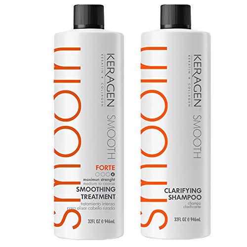 Keragen, Hair Smoothing Keratin Treatment Chocolate 32 Oz Forte and Clarifying Shampoo 32 Oz Combo Set