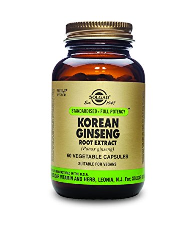 Korean Ginseng Capsules - Solgar Standardized Full Potency Korean Ginseng Root Extract Vegetable Capsules, 60 Count
