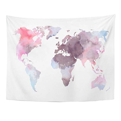 Wall Tapestries 80 x 60 inches Atlas Colorful World Map Watercolor Abstract Perfect Watercolour Africa Home Decor Wall Hanging Tapestries Living Room Bedroom Dorm by AlliuCoo