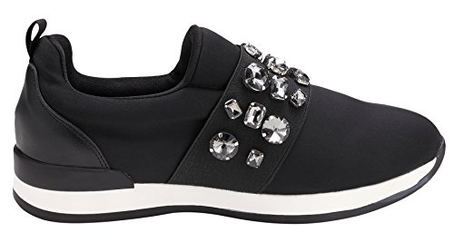 Sofree Womens High Fashion Rhinestone Lycra Light Weight Sneakers Black-black hhuWZwjuQJ