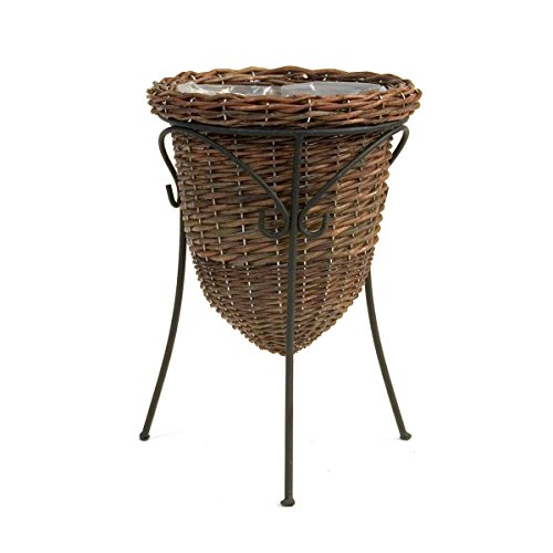 Skalny Round Willow Planter with Stand & Sewn Liner, 11