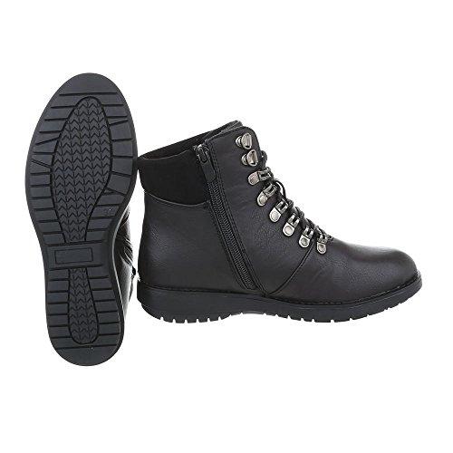 Ital lacet Design femme Plat Bottes Noir a bottines Bottines Chaussures et nw7O8xqz0q