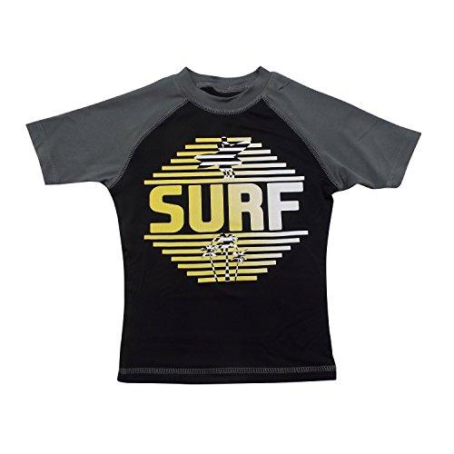 Boys' Short-Sleeve Rashguard - 'Surf' Gray and Black Swim Shirt - Size 8-10