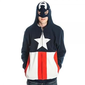 Captain America Costume Men's Zip Hooded Sweatshirt, XX-Large