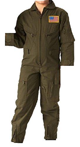 RTC Kids Future Pilot Olive Drab Coverall/Flight Suit (Medium)