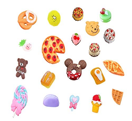 20 pcs 3D Slime Charm Slice Resin Flatback Dessert Bead Button Cake Ice Cream Pizza Bread Cookie Donut, Fruit Pineapple Lollipop Bear for DIY Scrapbooking Embellishment Phonecase Hair Clip Jewelry ()