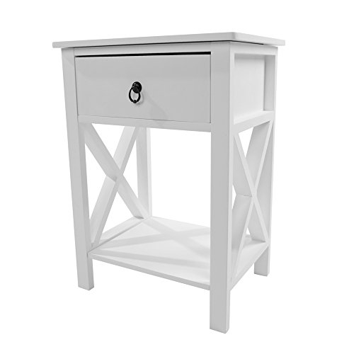 (LEADZM Bedside Table Nightstand with Shelf and Drawer for Storage, Intersection Style End Table Coffee Table, White)