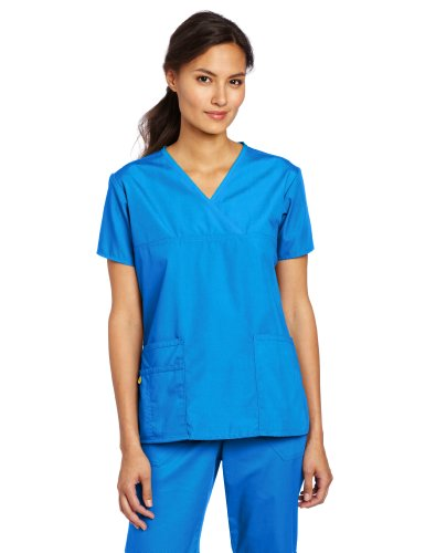 - WonderWink Women's Scrubs Charlie 5 Pocket Y-Neck Wrap Top, Royal Solid, 4X-Large