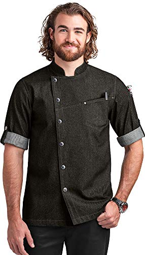 Coated Jacket Twill - Men's Asymmetrical Premium Denim Chef Coat with Mesh Side Panels (S-3X, Black) (Small)