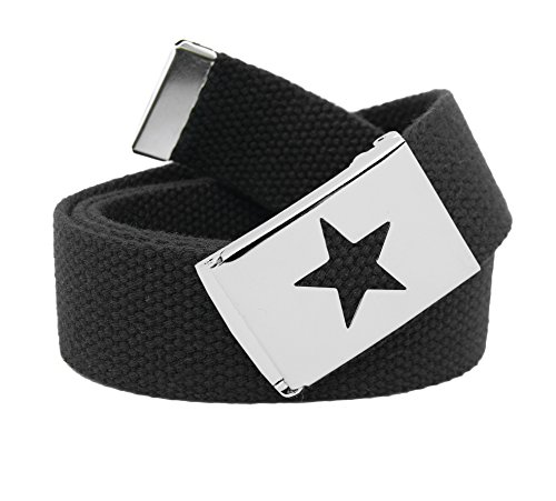Belt Youth Standard - Girl's Star Silver Flip Top School Uniform Belt Buckle with Canvas Web Belt Medium Black