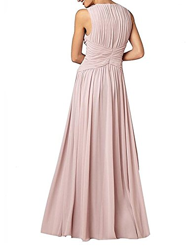 Gown Botong Burgundy Dress Sleeveless Bridesmaid Navy Chiffon V Neck Long Prom TzpqPTw