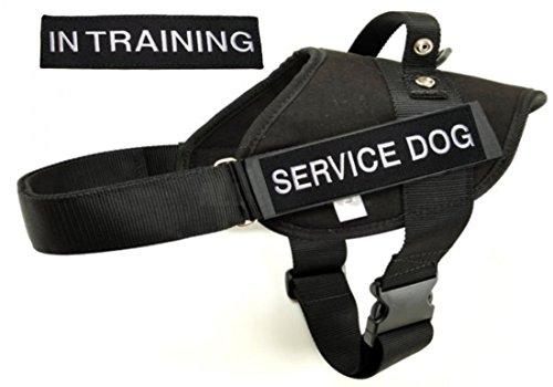 Police & Service Dog BLACK Vest Harness with 1 of each Em...