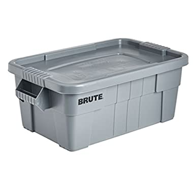 Rubbermaid Commercial BRUTE Tote Storage Bin with Lid, 14-Gallon, Gray