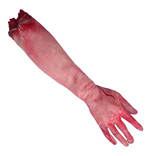 Dealglad Horror Bloody Realistic Fake Severed Arm Broken Hand Foot Legs Body Parts Prank Trick April Fool Halloween Party Props (Long Broken Arm) -