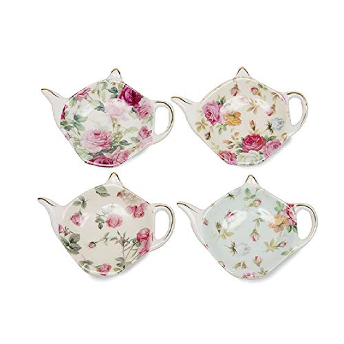 - Gracie China Tea Bag Caddy Holder, Set of 4 (Rose Chintz)