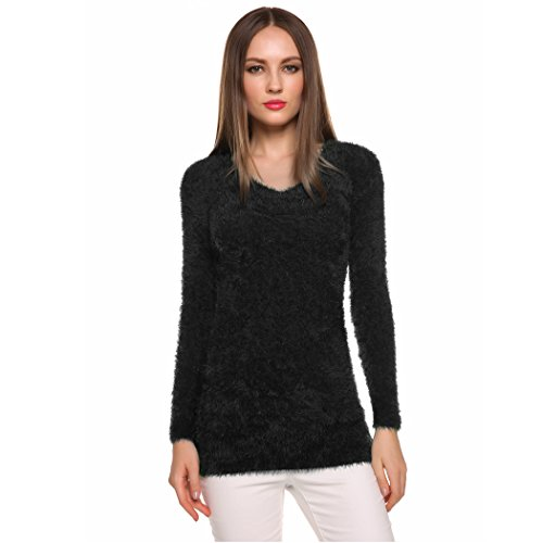 Mojessy Womens Knit Plain Chunky Mohair Sweater Jumper Fuzzy Bodycon Tops, Black, Free Size -