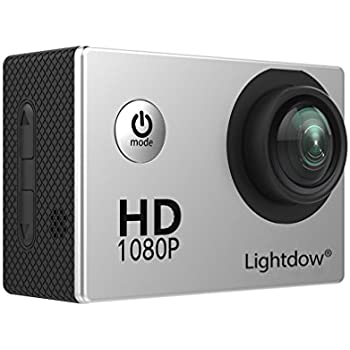Lightdow LD4000 1080P HD Sports Action Camera Bundle with DSP:NT96650 Chip, 1.5-Inch LPS-TFT LCD, 170° Wide Angle Lens and Bonus Battery (Silver)