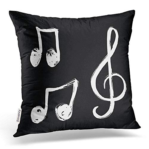 Emvency Square 18x18 Inches Decorative Pillowcases A Set Music Notes Iconhand Drawn Music Signs Cotton Polyester Decor Throw Pillow Cover Hidden Zipper Bedroom Sofa
