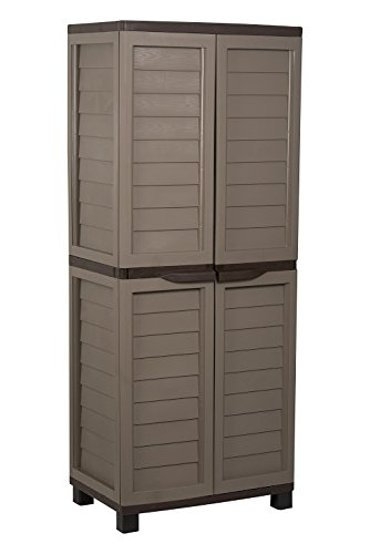 Rubbermaid Shelving Storage (Starplast Storage Cabinet with Vertical Partition and 4 Shelves, Mocha/Brown)
