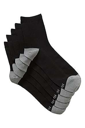 Hanes Men's Cotton Blend Quarter Crew Socks (5 Pack), Black, 11+