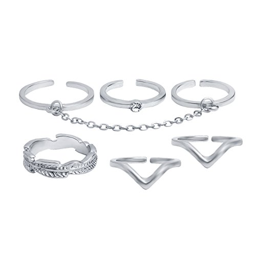 Coucoland 6pcs Stack Rings Leaf V Rhinestone Joint Rings Knuckle Nail Ring Set (Silver) ()