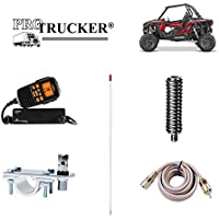 Pro Trucker Off-Road ATV, Tractor, UTV, RZR, And Jeep Kit With Uniden Handheld CB Radio, 4 White Antenna, Antenna Mount & Stud, Spring, and Coaxial Cable - Includes Everything