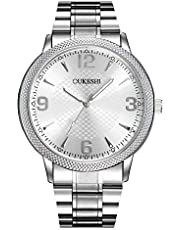 OUKESHI Fashion Casual Luxury Analog Quartz Womens Mens Quartz Watches Wrist Watches with High Precision Gift Present GD161 - Silver