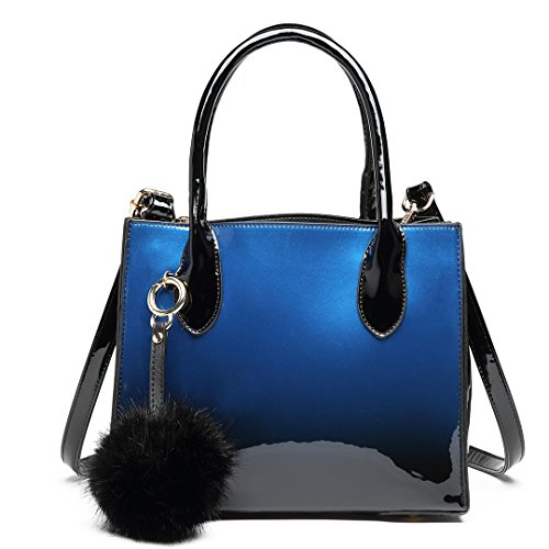 Navy Miss Tote Lulu Patent Designer with Brand High Ball Quality Handle Handbag Fur Leather Elegant Stylish Pendant Faux Top 1759g rrdxqPHw