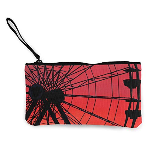 Oomato Canvas Coin Purse Ferris Wheel Red Cosmetic Makeup Storage Wallet Clutch Purse Pencil -