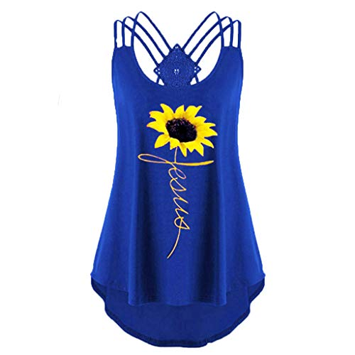 MIS1950s Women's Cute Criss Cross Back Tank Tops Loose Hollow Out Camisole Shirt Sleeveless Sunflower Printed Vest Top