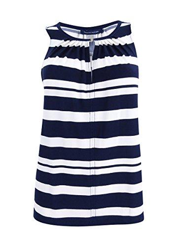 Tommy Hilfiger Ivory Womens Small Jersey Stripe Tank Top Blue ()