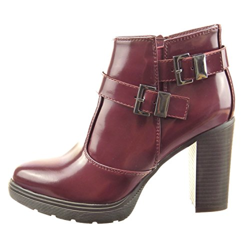 Sopily - Zapatillas de Moda Botines Tobillo mujer brillantes multi-correa Talón Tacón ancho alto 9 CM - Rojo