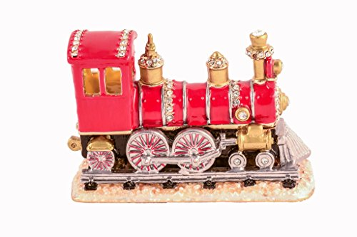 Train Trinket Box, Hand Set Clear Swarovski Crystal, Hand Painted Red Enamel Over Solid Pewter Base, Inside of Box with Lovely Enamel, Comes in Beautiful Gift Box, L 3.25 X H 2.25 X W 1.50