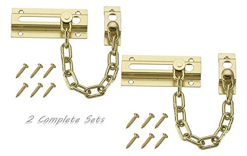 Set of 2 Chain Door Guards Brass Plated Steel Chain Fits on All Doors (Security Door Chain)