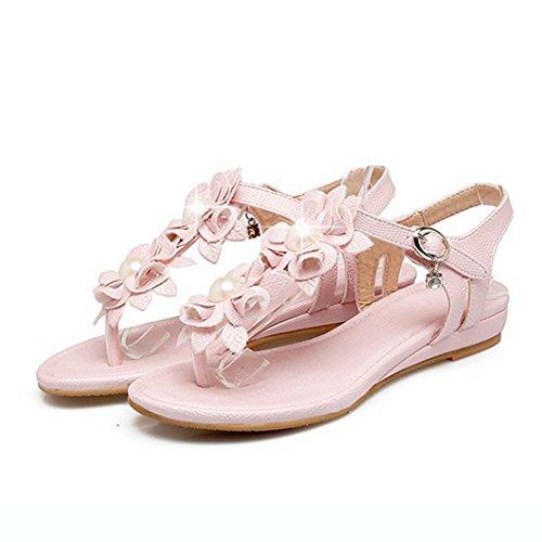 Flower Heels Pink Shoes Clip Sandals Beach Toe Womens Flip Buckled Flop Aisun Bohemian Low WedgeThong w6ExR0