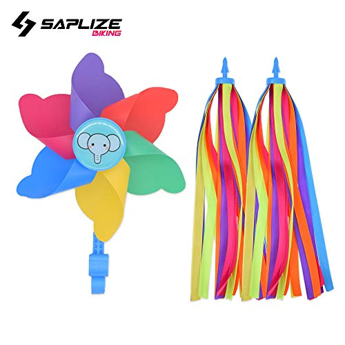SAPLIZE Bike Streamer & Blue Bike Pinwheel Windmill, Colorful Decoration Accessories for Kid's Bicycle Handlebar Scooter, Tricycles