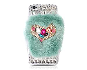 Luxury Furry Series Winter Warm Fur 3D Love Heart Bling Sparkling Crystal Shiny Rhinestone Diamond Handmade Clear Hard Shell Skin Case Cover for iPhone 6 Plus (5.5 inches) - Turquoise
