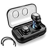 Eon Concepts Wireless Bluetooth 5.0 Earbuds TWS-8 Headphones | iPhone & Android Phone Compatible | Built in Mic | Detachable Ear Hooks | Portable Charging Case | 3D Stereo Sound | Smart Touch | Black