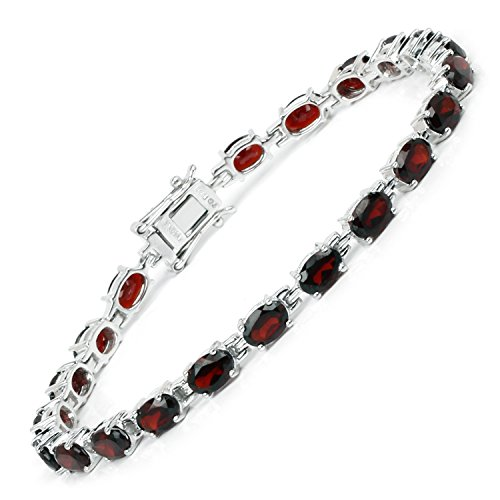 Huang and Co. 9.64 Carats Genuine Garnet Oval Bracelet Solid .925 Sterling Silver with Rhodium Plating